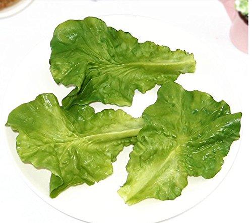 Elegantflower まるで本物 野菜 レタスの葉 フェイク イミテーション 食品サンプル オブジェ 置物 野菜 模型 インテリア ディスプレイ お供えに 3枚入れ