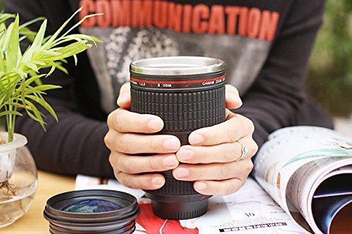 JAPAN AVE. レンズ 型 ステンレス 製 マグ カップ タンブラー / ブラック × ブルー / 一眼レフ レプリカ / カメラ 好き 必須 アイテム !