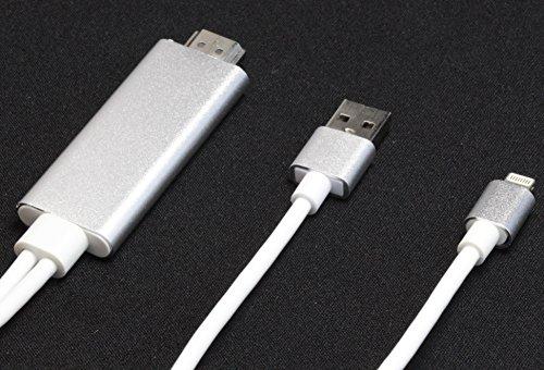 【HAIKAU】 iPad / iPhone / iPod Lightning to HDMI 変換ケーブル 高解像度 1080P ライトニング ミラーリング プラグアンドプレイ設定不要 挿すだけ HDTVケーブル iPad第4世代以降/iPhone7 / iPhone7 plus / iPhone6/6S / iPhone6/6S plus / iPhone5/5S/5C / iPhoneSE 用 HDMI  USB  Lightning ケーブル アダプタ iOS 10.2まで対応確認済み 日本語操作説明書付き シルバー