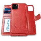 AMOVO iPhone 11 Pro Max ケース 手帳型 分離式 マグネット 取り外し自由 ワイヤレス充電に対応 カード収納 横開き スタンド機能 アイフォン 11 Pro Max 手帳カバー (iPhone 11 Pro Max 6.5インチ, 赤)