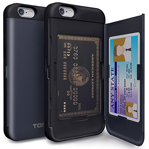 iPhone6s ケース「iPhone6 ケース」手帳型「人気」耐衝撃「カードホルダー」suica「衝撃吸収」ミラー「TPUxプラスチック」スタンド「アイフォン6sケース」アイフォン6ケース「スマホケース」おしゃれ- メタルスレート「TORU」