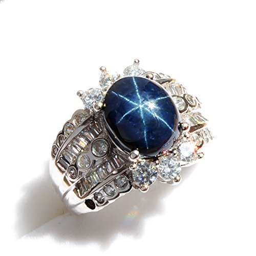 One&Only Jewellery 【鑑別書付】 一生物 超大粒 5ct スターサファイア リング 指輪 SV925 K18GP 宝石の王様 9月誕生石 (15号)