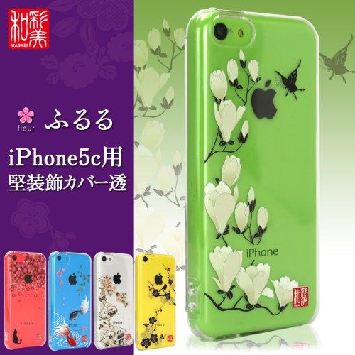 SP1226 和彩美 ふるる iPhone5c 和風 和柄 ケース iPhone5c用堅装飾カバー透 カタキソウショクカバースカシ 夜桜に流水