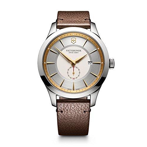 Victorinox 241711Allianceアナログディスプレイ スイスクオーツ シルバー腕時計 メンズ Two-tone Dial, Brown Leather Strap