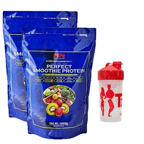 MPN パーフェクト スムージー プロテイン 各1.6kg 2袋 ストロベリー&キウイ シェイカーセット