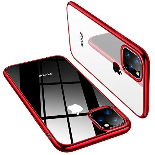 TORRAS iPhone 11 Pro Max ケース 6.5インチ 対応 TPU 透明 薄型「黄ばみにくい」「X-SHOCK」耐衝撃 米軍MIL規格 SGS認証 ワイヤレス充電対応 アイホン11ProMaxソフトカバー(レッド)[ Shiny Series]