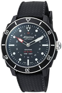 Alpina (アルピナ) Men's 'Horological' Quartz Stainless Steel and Rubber Smart Watch, Color:Black (Model: AL-282LBB4V6)