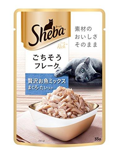 シーバ (Sheba) キャットフード リッチ ごちそうフレーク 贅沢お魚ミックス まぐろ・たい入り 35g×12個 (ま...