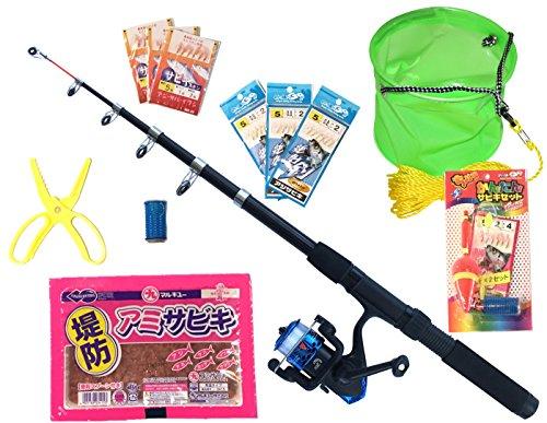 TOISTAX 釣り竿 セット 動画マニュアル付 2m ロッド リール 200A ((動画マニュアル付き)黒( オールサビキセットA)200A-400A)