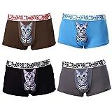 HXL(ハシレイ) ボクサーパンツ メンズ ボクサーブリーフ ローライズ アニマル 猫パンツ 男性下着 ローライズ 4枚 セット