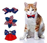 SIAYI(しあい)ペット 用品 猫 首輪 猫 ネクタイ 猫用首輪 首飾り 長さ調整可能 4種類のリボン付き 鈴付き イギリス風 オシャレ 柔らかい 安全 4点セット (赤)