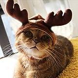 amzmonnsuta クリスマス 帽子 かわいい ペット用品 トナカイ 服 猫・子犬 キャップ クリスマスプレゼント パーティ コスチューム