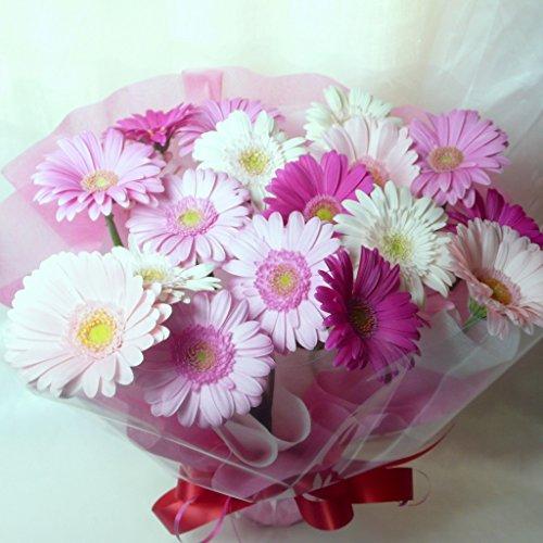 ガーベラスタンド型花束・ブーケ型アレンジメント・ピンク系ミックス20本