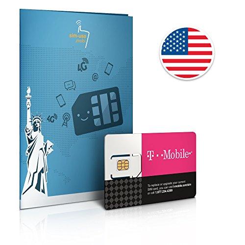 アメリカ T-Mobile SIM カード インターネット無制限使い放題 通話とSMS、データ通信高速10GB 30日間