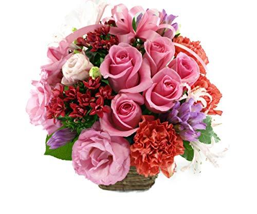 5本のバラと季節のお花のリボンアレンジメントは義母に喜ばれるギフト
