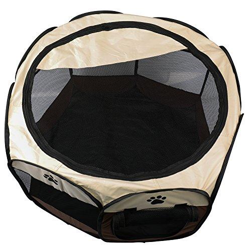 BIGWING 折りたたみ 八角形 ペットサークル プレイサークル 犬 猫 兼用 コンパクト メッシュ お出かけ用品 コーヒー M