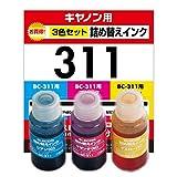 エレコム 詰め替えインク キャノン BC-311対応 3色セット 4回分 THC-311CSET4