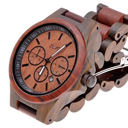 ZLYC木製腕時計 ウッドウォッチ 丸いケース ラウンドフェイス 竹の木のバンド カレンダー付き ファッション 男女兼用
