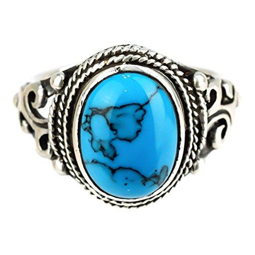 ジナブリング (JINA BRING) 指輪 リング 銀縄 ターコイズ カレッジリング トルコ石 銀縄 天然石 指輪 シルバーリング シルバー925 #23
