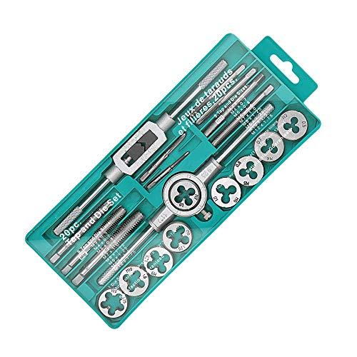 タップ ダイスセット ネジ穴 ネジ山修復 20pcs 高硬度 タップ レンチ ねじ切りダイス スレッド切削工具