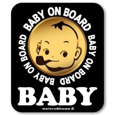 【マグネット】カフェ☆BABY IN CAR ベビーインカー マグネットステッカー(ブラック)赤ちゃんが乗ってます ベビーinカー