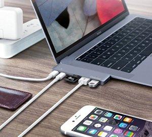"USB C ハブ Type C Hub MacBook Pro 2016/2017 13""/15"" Thunderbolt 3 充電ポート 4K HDMI USB-Cx1 USB 3.0x2 SD&Micro SDカードリーダー 7in1アルミニウム 革ケース付き (スペースグレイ)"