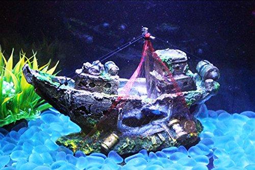 【SCGEHA】水槽 アクセサリー オーナメント オブジェ アクアリウム 装飾 沈没船 財宝 水槽がファンタジーな世界に!(Aタイプ)
