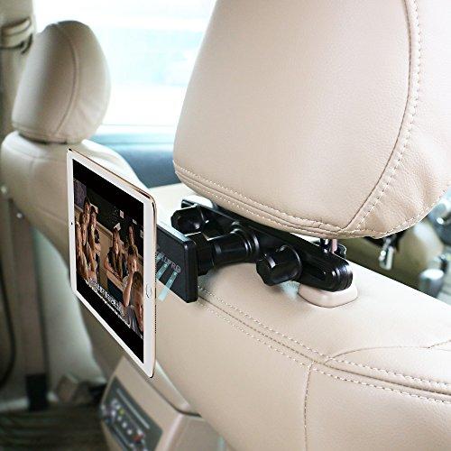 OHLPRO タブレットホルダー車載スマホホルダー マグネット, 360度回転式マグネットスタンド 車載ホルダー スマートフォン&タブレット両方対応 後席用磁気吸収 4~10.5インチの製品に適用