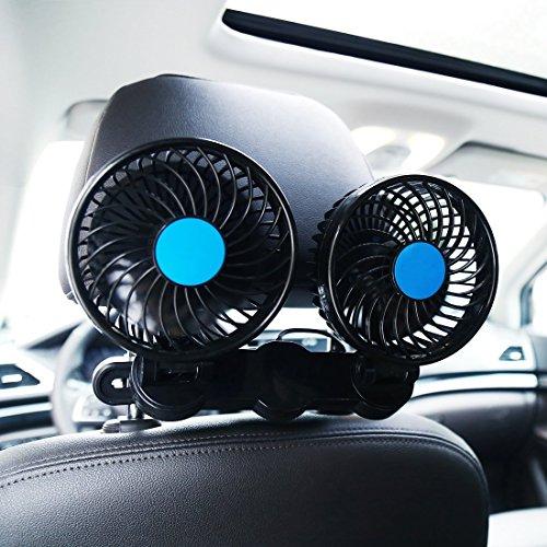 SILIVN 車内 車載扇風機 双頭車載ファン DC12V 4インチ ブラック シガー 角度調節 360°回転 強風量 省エネ 夏対応 小型