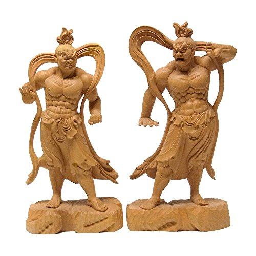 柘植製 仁王像 一対(金剛力士) 【木彫り 仏像】