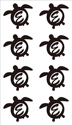 nc-smile イニシャル ハワイアン ホヌ 英字 アルファベット デコレーション シール ステッカー E ブラック