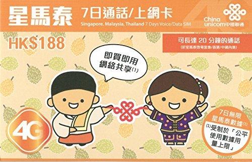 星馬泰7日( シンガポール マレーシア タイ )7日間 通話 SMS データ通信 プリペイド SIMカード 中国聯通