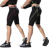 スポーツタイツ レギンス スパッツ スポーツウエア ショート メンズ 加圧 吸汗速乾 セット(赤+グリーン) XL
