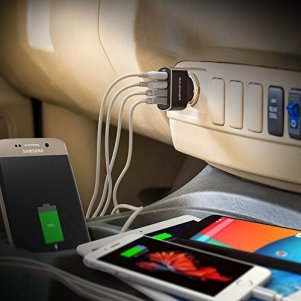 Quick Charge 3.0 USBカーチャージャー RAVPower 54W 4ポート 車載充電器 急速充電 iPhone iPad Android スマホ タブレット 対応 iSmart出力自動判別あり