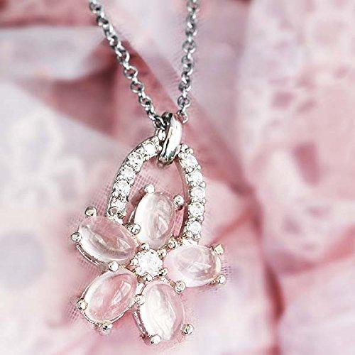 【鑑別書付】 天然ローズクォーツ 3ct フラワーペンダント ネックレス さくら 桜