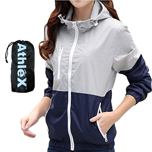 AthleX(アスレエックス) レディース ウインドブレーカー 女性 マウンテンパーカー ウィメンズ ナイロンジャケット 軽量 UV対策 ウィンドブレーカー ブルゾン ランニング ジョギング (グレー, M)