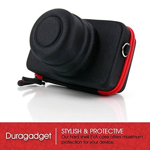 DURAGADGET CANON EOS M 専用の黒と赤のしっかりとした保護ケース エラスティックベルトループ付き