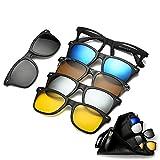 M.O.C evo サングラス ウェリントン 偏光 ミラーレンズ UV400 大きい 5WAY レンズ交換 レンズフレーム 5セット (レンズ5色) ポーチ付き
