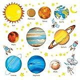 DECOWALL 宇宙と惑星 ウォール ステッカー デコ (中) DW-1307