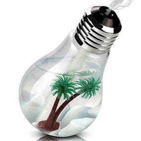 TOP FILM 加湿器 卓上加湿器 USB 超音波式 大容量 400ml 加湿器 ペットボトル 電球型 LED搭載7色変換 静か 花粉症 花粉対策に 乾燥防止 空焚き防止 オフィス用 会社 家庭用 (シルバー)