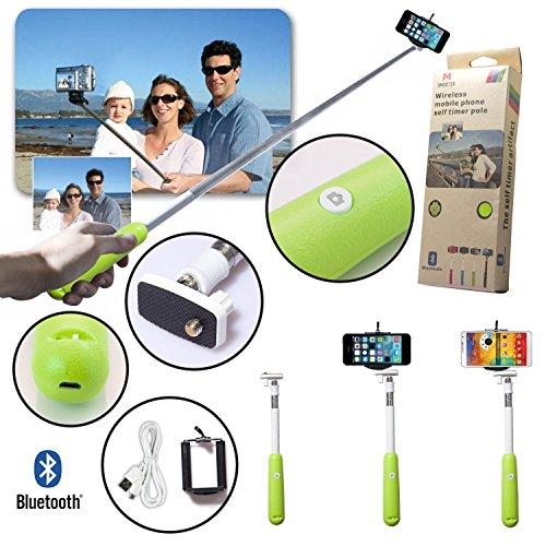39インチ Bluetooth 自撮りシャッター セルフポートレート モノポッドスティック iOS, Android 用 (Android 4.2.2 / iOS 6.0 / Newer, グリーン)