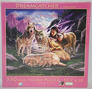 SunsOut 550 PieceパズルドリームキャッチャーネイティブアメリカンWoman with Wolves during a beautiful purple sunset in the mountains | おもちゃ 通販