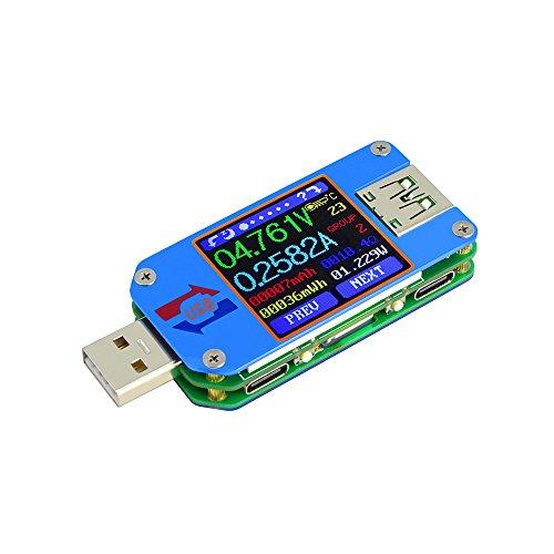 KKmoon RD UM25 / UM25C Type-C USBテスター LCDディスプレイテスター 電流電圧テスター 電圧計 電流計 USB 2.0 バッテリー充電ケーブル インピーダンス 抵抗測定 無通信バージョン