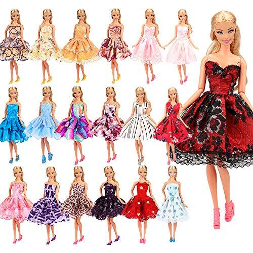 「Barwawa」ランダム5枚セット 人形 バービー 服 ドレス ジェニー 服  ウェア ドール用 人形用 アクセ...
