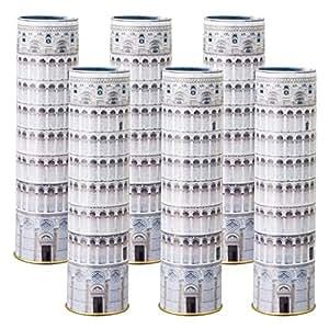 [イタリアお土産] カプチーノコーヒービーンズチョコ ピサの斜塔缶入り 6缶セット (海外 みやげ イタリア 土産) | チョコレート菓子 通販