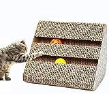 ネコの爪とぎ 猫つめとぎ 三角台座 爪とぎ 三面使い 鈴入り つめとぎ 知育おもちゃ ダンボール