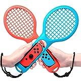 マリオテニス エースに対応テニスラケット FYOUNG ラケット型アタッチメント Nintendo Switch Joy-Con用 マリオテニスなどのテニスゲームに対応 落下防止ストラップ付き 軽量ABS製 テニスゲームの臨場感 2点セット (ブルー·レッド)
