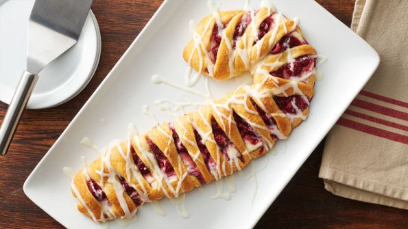 Raspberry-Cream Cheese Candy Cane Crescent Danish