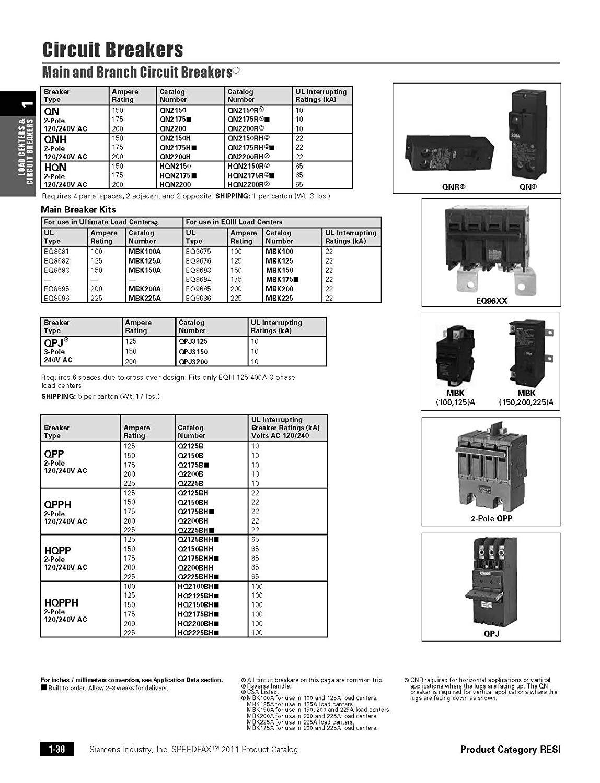 Siemens Q Ct 15 Amp 1 Pole 20 Amp Double Pole 10 Kaic