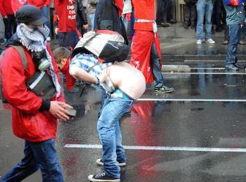 Rellen tijdens vakbondbetoging in Brussel